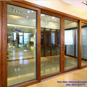 cửa kính cường lực gỗ ở vinh