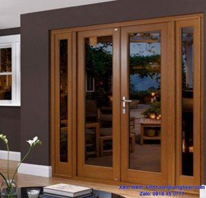 cửa gỗ kính cường lực ở vinh